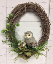 Owl and baby silk and dried grapevine wreath