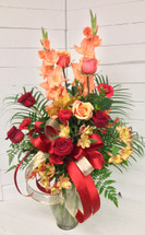 Flaming fresh Flemish vase arrangement