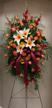 Fiery fresh autumn easel arrangement