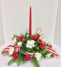 Single Candle Round Candy Cane Centerpiece