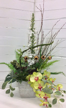 Tall and stylish orchid and succulent silk arrangement
