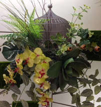 Caged Orchid and succulent wall piece