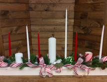 "Rustic 50"" long holiday centerpiece with candles in silk or fresh"
