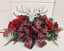 Festive Silk Grave Saddle with Glittery Reindeer
