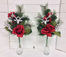 Festive Silk Side Pieces with Glittery Reindeer