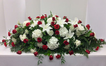 Stunning Red and White Garden Full Couch Casket Spray