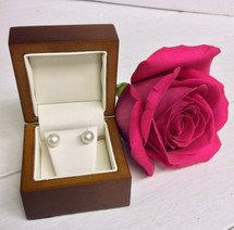 Genuine Pearl and 14kt Gold Stud Earrings