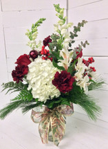 Burgundy Berries and Hydrangea Holiday Vase Arrangement
