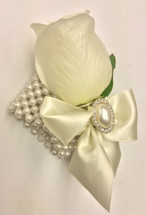 Pearl Beaded Bracelet with a Creamy White Rose And Satin Bow