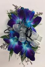 """Bomb Blue"" Dendrobium Orchid Wrist Corsage wth Rhinestones"