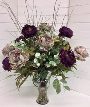 Gorgeous Large Silk Flemish Vase in Taupe and Deep Purple