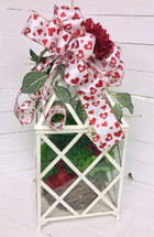 Valentine Planter in Large Metal and Glass Terrarium with Silk Embellishment