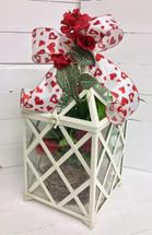 Valentine Planter in Medium Sized Metal and Glass Terrarium with Silk Embellishment