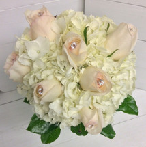"Hand-Tied Bouquet with Hydrangea and Jeweled ""White Ohara"" David Austin Roses"