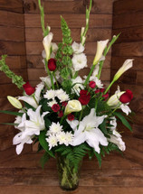 Stunning Red and White Rose and Lily Tribute Vase