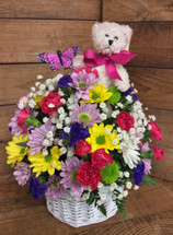 """Teddy Bear and Butterfly"" Spring Basket Arrangement"