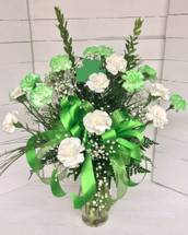 2 Dozen Green and White Carnations Arranged with St. Patty's Trim