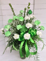 3 Dozen Green and White Carnations Arranged with St. Patty's Day Trim