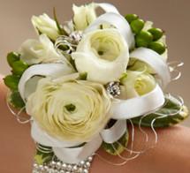 White Ranunculus Corsage