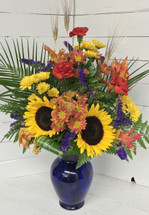 Cobalt Blue Sunflower Mixed Vase