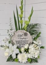 Cream and Greene Garden Arrangement with Comforting Resin Plaque