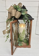 Medium sized Succulent and Eucalyptus Lantern with Flameless Flickering Mirage Candle