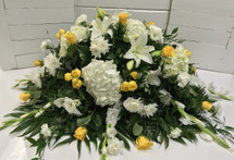 Yellow and White Garden Half Couch Casket Spray