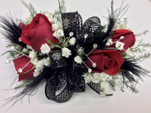 Feathers and Bling Red sweetheart wrist corsage