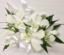 White Orchids and white satin wrist corsage