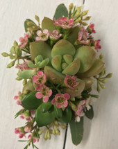 Succulent and seeded Eucalyptus wrist corsage
