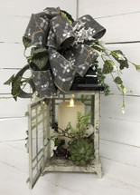 Small Cottage Lantern with Succulents and Mirage Flameless Flickering Candle