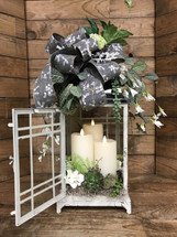 Large Cottage Lantern with Succulents and 3 Mirage Flameless Flickering Candles