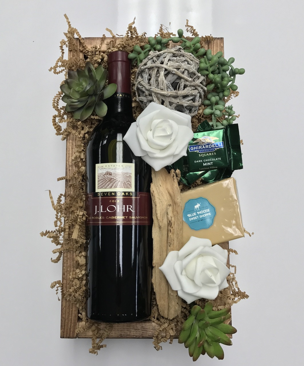 J Lohr Wine And Gift Box With Gheradelli Chocolates Fudge And Succulents