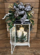 Winter White Holiday Lantern with 3 Mirage Flickering Flameless Candles