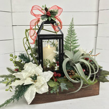 Silk Succulent and Poinsettia Lantern Box with Mirage Flickering Flameless Candle