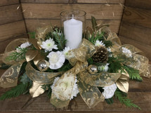 Golden leaves aglow oval Centerpiece with pillar candle in globe