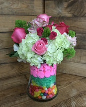 """""""Easter Bunny Surprise"""" Fresh vase filled with candy"""