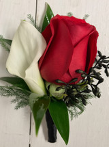 Rose and calla lily boutonnière with black seeded eucalyptus
