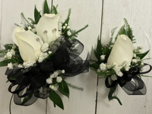 Classic Black and white Corsage and Boutonnière combo