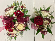 Burgundy wine tipped Corsage and Boutonnière combo
