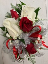 Crimson and white sparkle delight Corsage