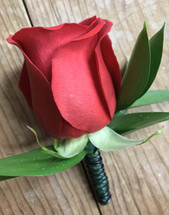 Standard rose and ruscus Boutonnière with wire embellishment