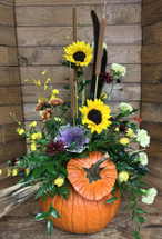Stylish Autumn Arrangement in Large Fresh Pumpkin