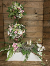 Rustic Silk Topiary in Pinks and Whites