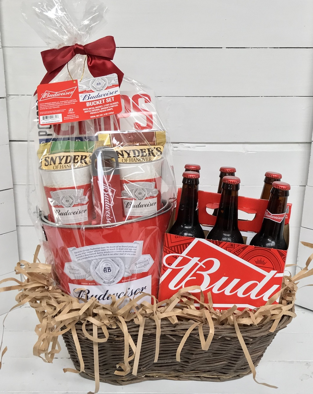 ... General Gifts; Budweiser Party Basket. Image 1