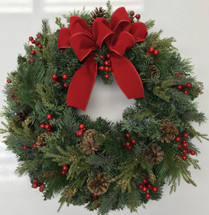 """24"""" Gorgeous Mixed Evergreen Silk Wreath with Berries"""