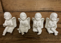 "4"" Ceramic cherub angels, 4 styles, bible, heart, star, and dove"