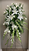 Stunning White Orchid and Lily Garden Easel