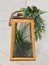 """17"""" Wooden Succulent Lantern with Metal Accents"""