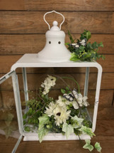 "16"" White Butterfly Lantern"